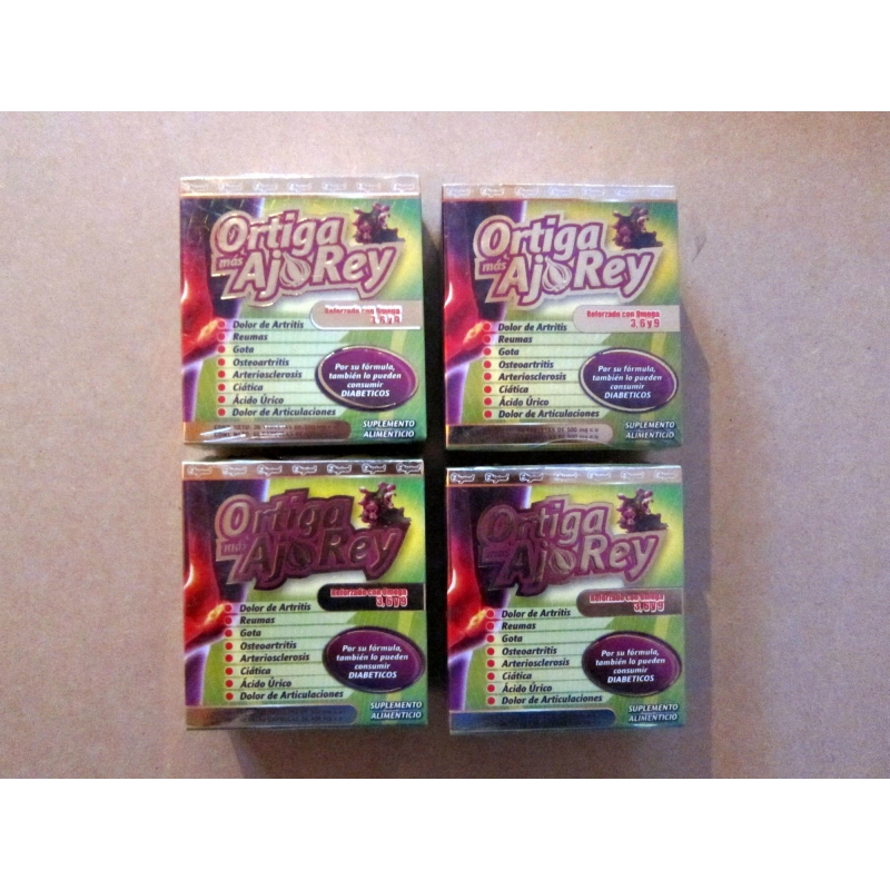 Package of 4 boxes of Garlic King with Omega 3, 6 and 9 the Original, MADE IN MEXICO